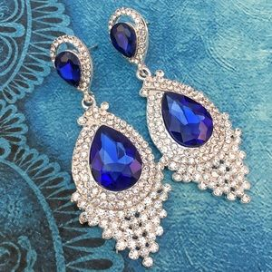 Jewelry - Blue Faceted Crystal Chandelier Event Earrings